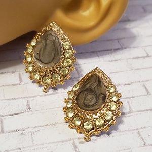 Jesi's Fashionz Jewelry - Swirled Teardrop Earrings w/ Crystals